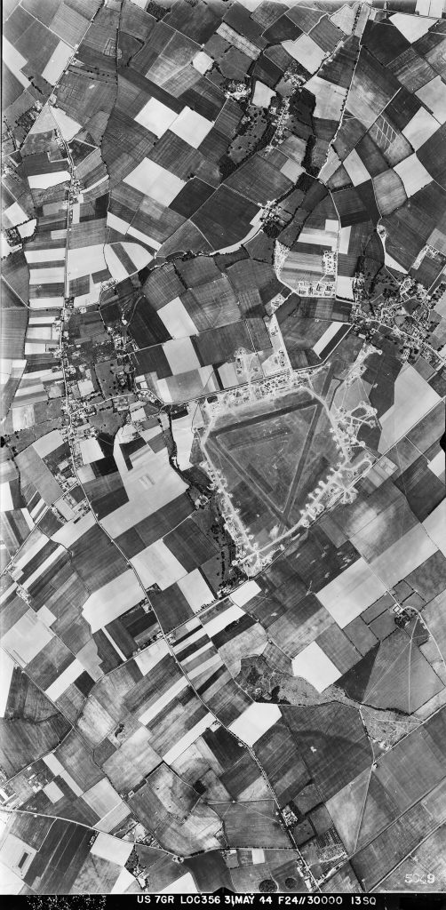 Aerial view of Steeple Morden airfield