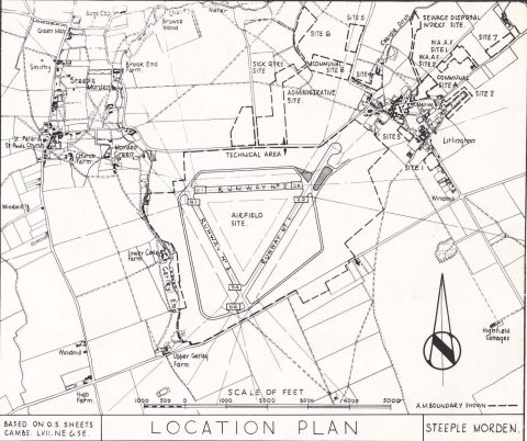 Map of Steeple Morden airfield site