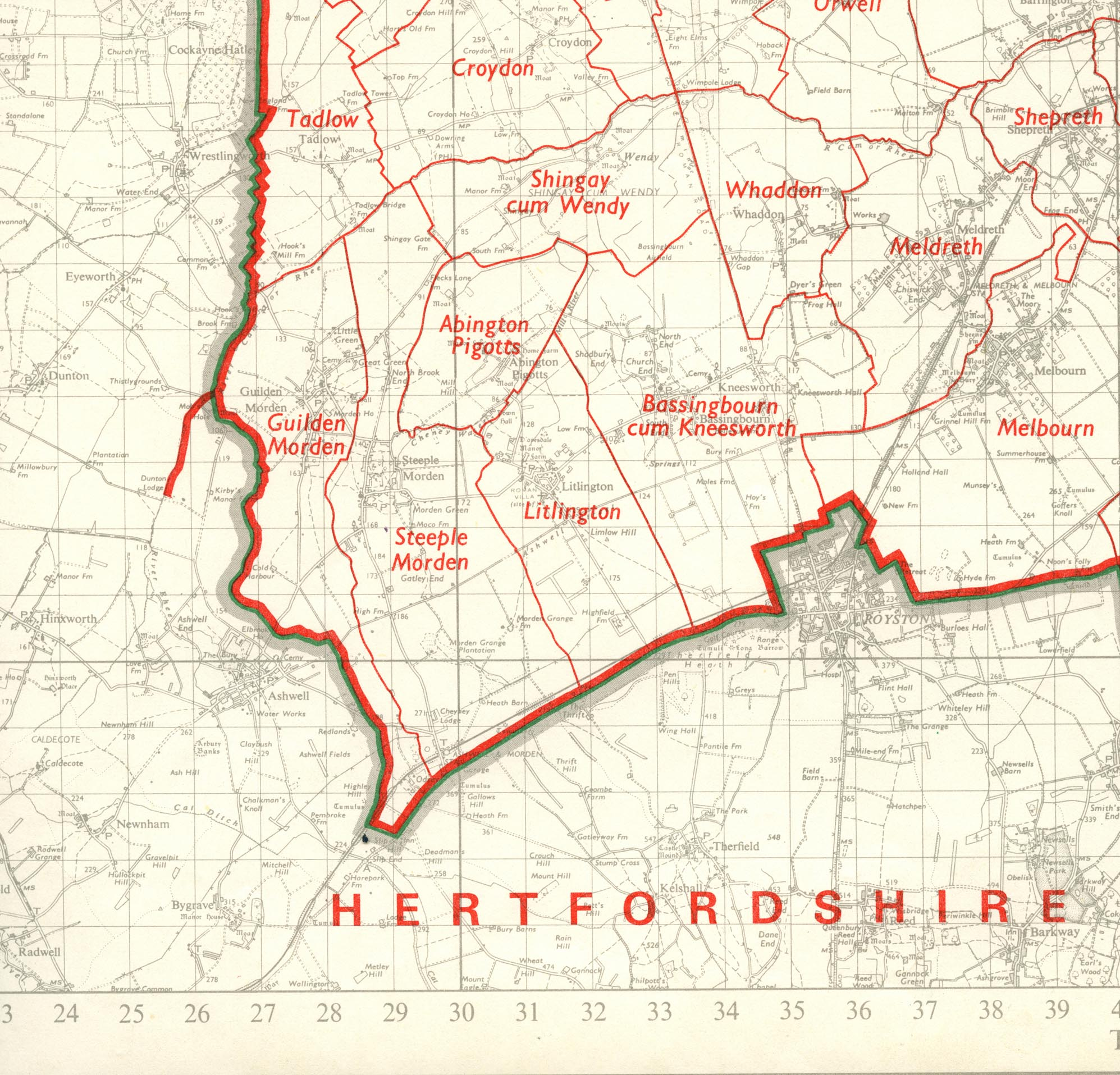 Map of Steeple Morden Civil Parish boundary